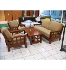 Salon 4 pièces OSAKA cappuccino microfibre olive : 1 canapé 3 places + 2 fauteuils + 1 table basse