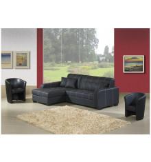 Canapé d'angle convertible gauche MONACO pvc noir