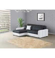 Canapé d'angle gauche MONTE CARLO noir et blanc