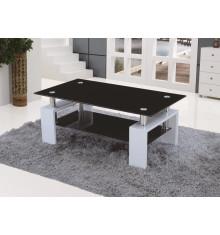 Table basse NOE Pieds blanc Plateaux verre noir