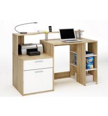 Bureau informatique 1 porte/1 tiroir ORACLE chêne/blanc