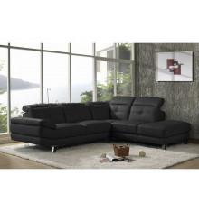 Canapé d'angle droit ROMA cuir noir