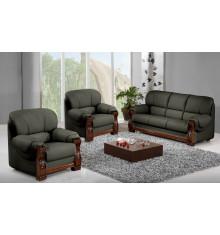Salon 3 pièces HOLANDIA pierre : 1 canapé 3 places + 2 fauteuils 1 place