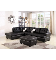 Canapé d'angle + pouf PANAMERA PU noir