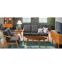 Salon 4 pièces SEOUL chêne tissu microfibre olive : 1 canapé 3 places + 2 fauteuils + 1 table basse