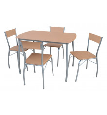 Ensemble 1 table + 4 chaises SOHO hêtre/pieds argentés