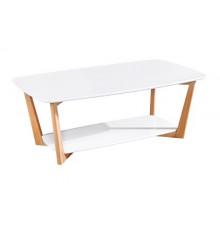 Table basse CHINON laqué blanc mat et hêtre