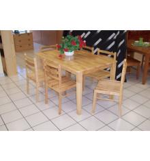 Table rectangle 75x140 hévéa massif vernis naturel