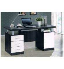 Bureau 3 tiroirs/1 porte ULYSSE wenge/blanc