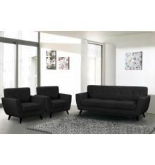Salon 3 pièces VICKY tissu noir : 1 canapé + 2 fauteuils 1 place
