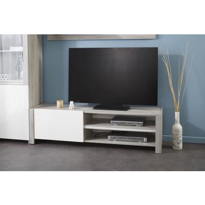 Meuble TV LUMILED Blanc brillant et gris
