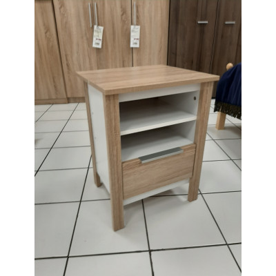 Chevet Kent 1 tiroir décor chêne clair et blanc mat