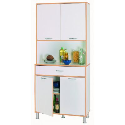 Vaisselier ANDY 4 portes 1 tiroir blanc/hêtre