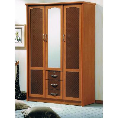 Armoire LAGON 3 portes 3 tiroirs miroir merisier