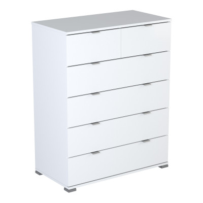 commode PERFECT blanc 6 tiroirs