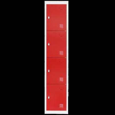 Colonne 4 casiers métal gris et rouge