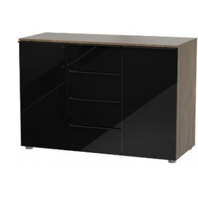 Bahut COCINA 2 portes 4 tiroirs chêne / laqué noir