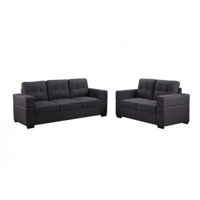 Salon 2 pièces MANILLE gris: 1 canapé 3 places + 2 places