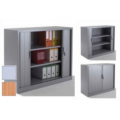 Armoire métal à rideaux L120 H100 cm coloris gris/portes chêne