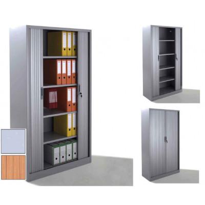 Armoire métal à rideaux L100 H198 cm  coloris gris/portes chêne