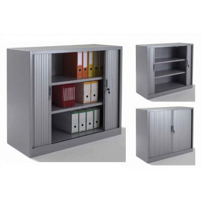 Armoire métal à rideaux L120 H100 cm coloris gris
