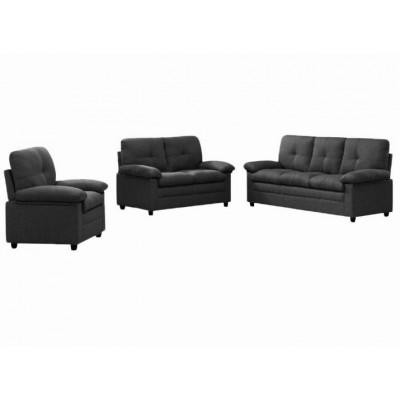 Salon 3 pièces ALABAMA tissu marron foncé: 1 canapé 3 places + 1 canapé 2 places + 1 fauteuil 1 place