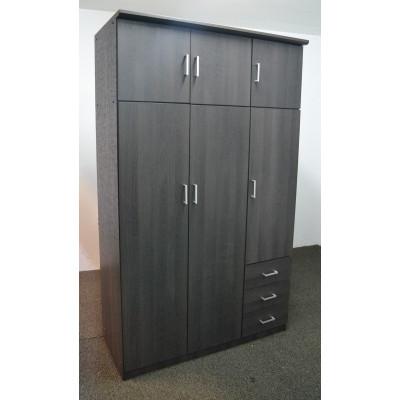 Armoire HELENA 6 portes 3 tiroirs chêne ébène