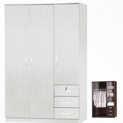 Armoire 3 portes/3 tiroirs CHERRY avec serrure blanc