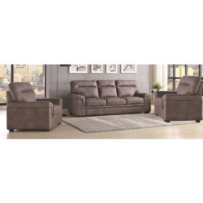 Salon 3 pièces AUSTIN tissu gris: 1 canapé 3 places + 2 fauteuils 1 place