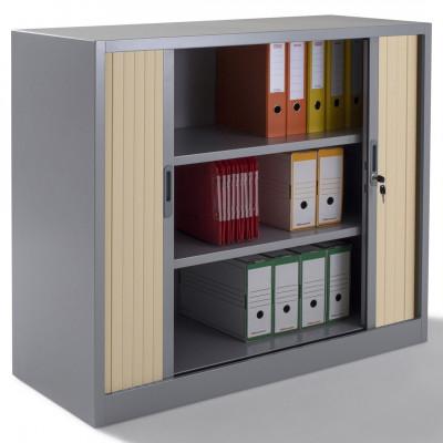 Armoire métal basse à rideaux L100 H100 cm coloris gris/portes chêne
