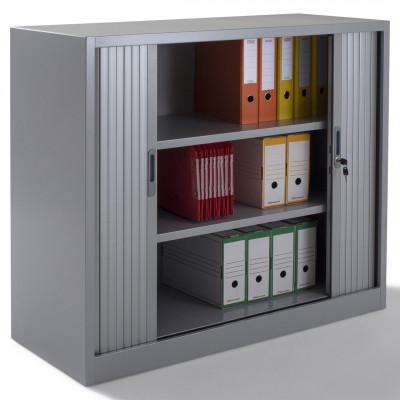 Armoire métal basse à rideaux L120 H100 cm coloris gris