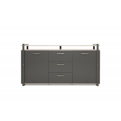 Buffet bas 2 portes 3 tiroirs BROOKLYN anthracite/chêne sorrento