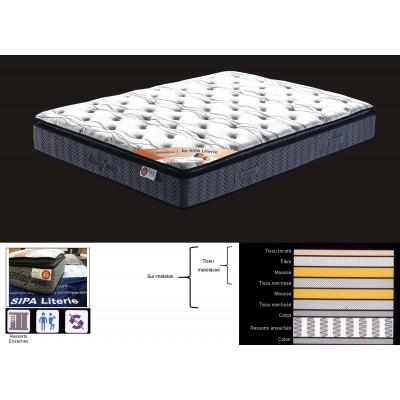 Matelas BEAUTY SLEEP 160x200 cm - Ressorts ensachés et sur-matelas inclus