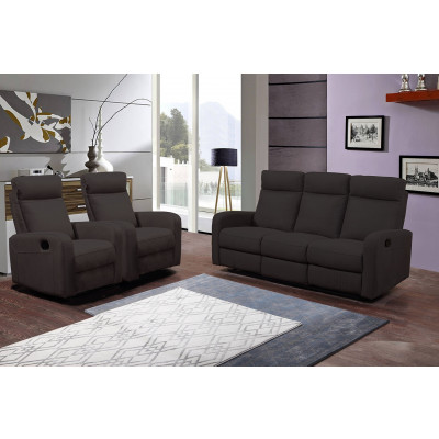 Salon 3 pièces BERGAME nubuc marron: 1 canapé 3 places/2 relax + 2 fauteuils 1 place relax