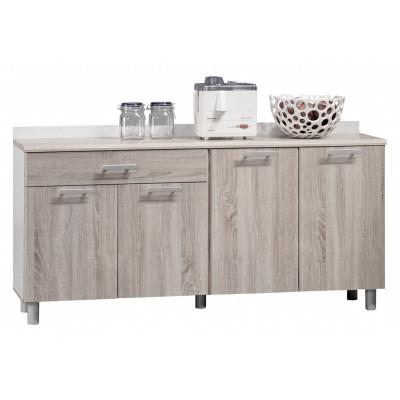 Buffet bas 4 portes 1 tiroir PHOENIX blanc/chêne safari