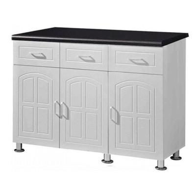 Buffet bas de cuisine 3 portes 3 tiroirs OSCAR 120 blanc/noir