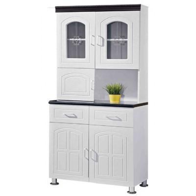 Buffet vaisselier 5 portes 2 tiroirs OCTAVE 80 blanc/noir