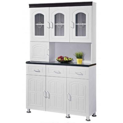 Buffet vaisselier 7 portes 3 tiroirs OCTAVE 120 blanc/noir