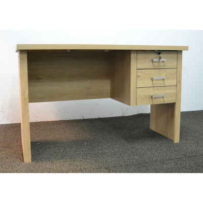 Bureau LEONCE chêne vicomte 3 tiroirs avec serrure