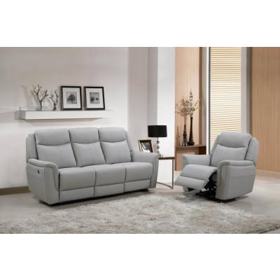 Salon 3 pièces relax: 1 canapé 3 places relax + 2 fauteuils 1 place relax EDEN cuir cappuccino