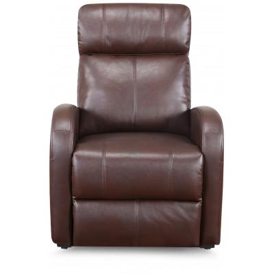 Fauteuil relax CAROLE électrique simili cuir Marron brillant