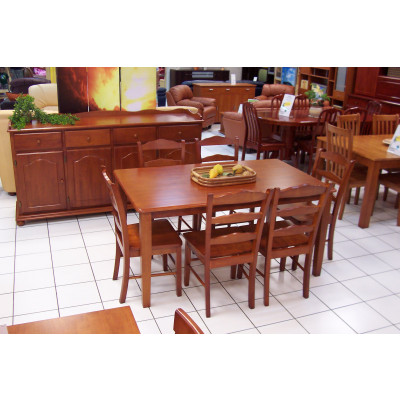 Ensemble 1 table+6 chaises HAVANA massif merisier