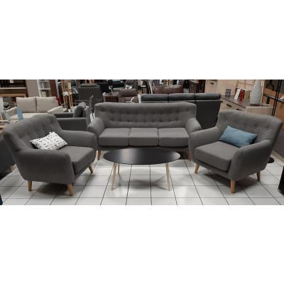 Salon 3 pièces: 1 canapé 3 places + 2 fauteuils 1 place CHESTER PU marron foncé