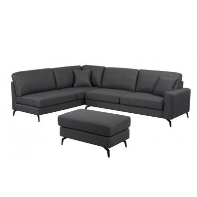 Canapé d'angle CHEYENNE gris + pouf