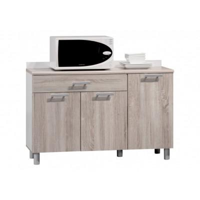 Buffet bas 3 portes/1 tiroir CITTY Chêne safari/blanc