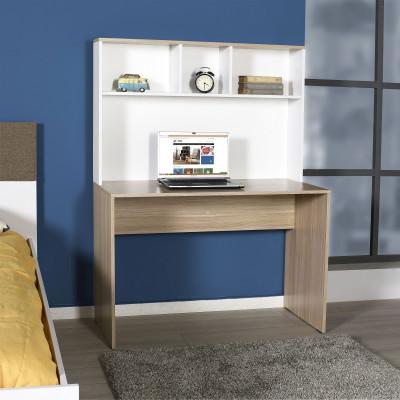 Bureau LISA avec sur meuble chêne et blanc