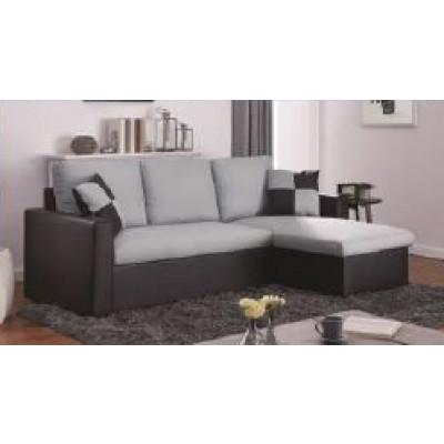 Canapé d'angle convertible DALLAS lin gris/pvc noir