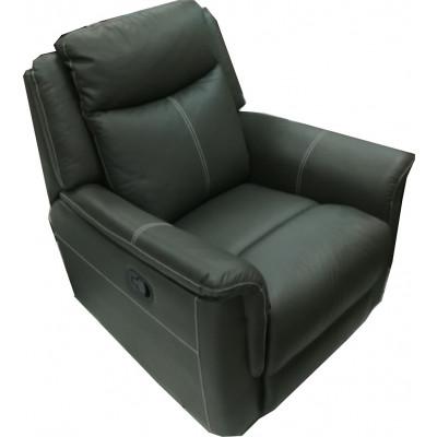 Salon 3 pièces relax: 1 canapé 3 places relax + 2 fauteuils 1 place relax EDEN cuir gris foncé surpiqure beige