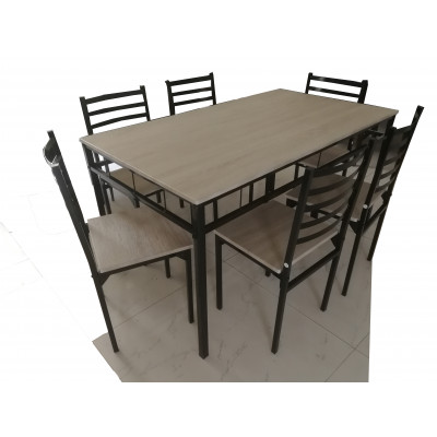 Ensemble 1 table + 4 chaises SQUARE chêne grisé/noir