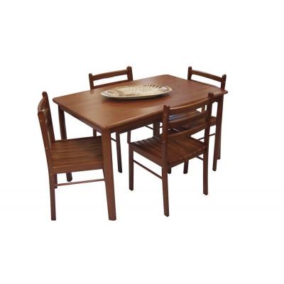 ENSEMBLE STARTER TABLE ET 4 CHAISES HEVEA MASSIF MERISIER
